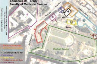 Χάρτης του campus του Comenius University στη Μπρατισλάβα